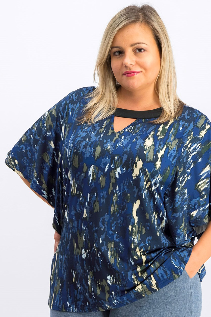 Madison Lily Plus Size Women's Printed Top, Blue Combo