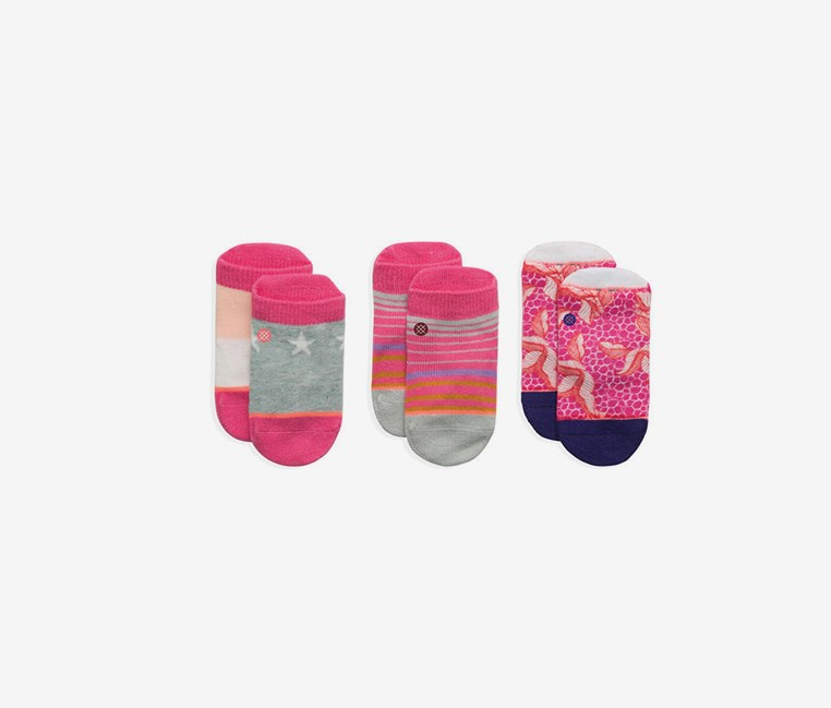 Baby Girl's 3pairs Purdy Box Set Socks, Pink Combo