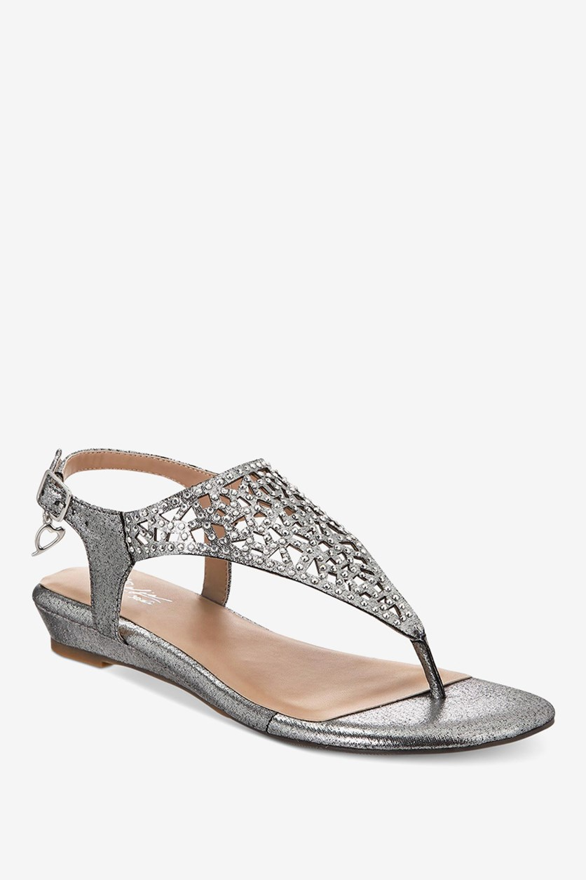 Women's Ilyssa Fabric Open Toe Casual Slingback, Pewter