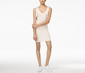 Minkpink Womwn's Tongue-Tied Cotton Bodycon Dress, Beige
