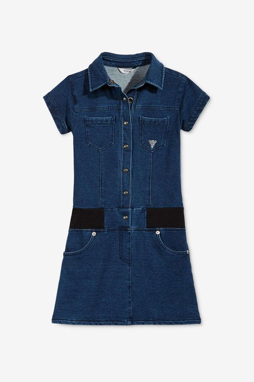 Girls Drop-Waist Denim Dress, Dark Chambray