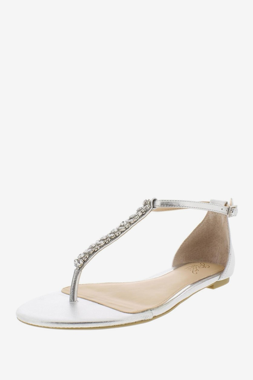 Women's Gaby Flats Sandals, Silver Leather