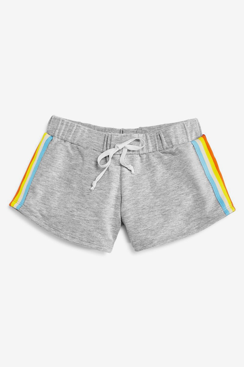 Girls' Rainbow-Striped Terry Shorts, Grey