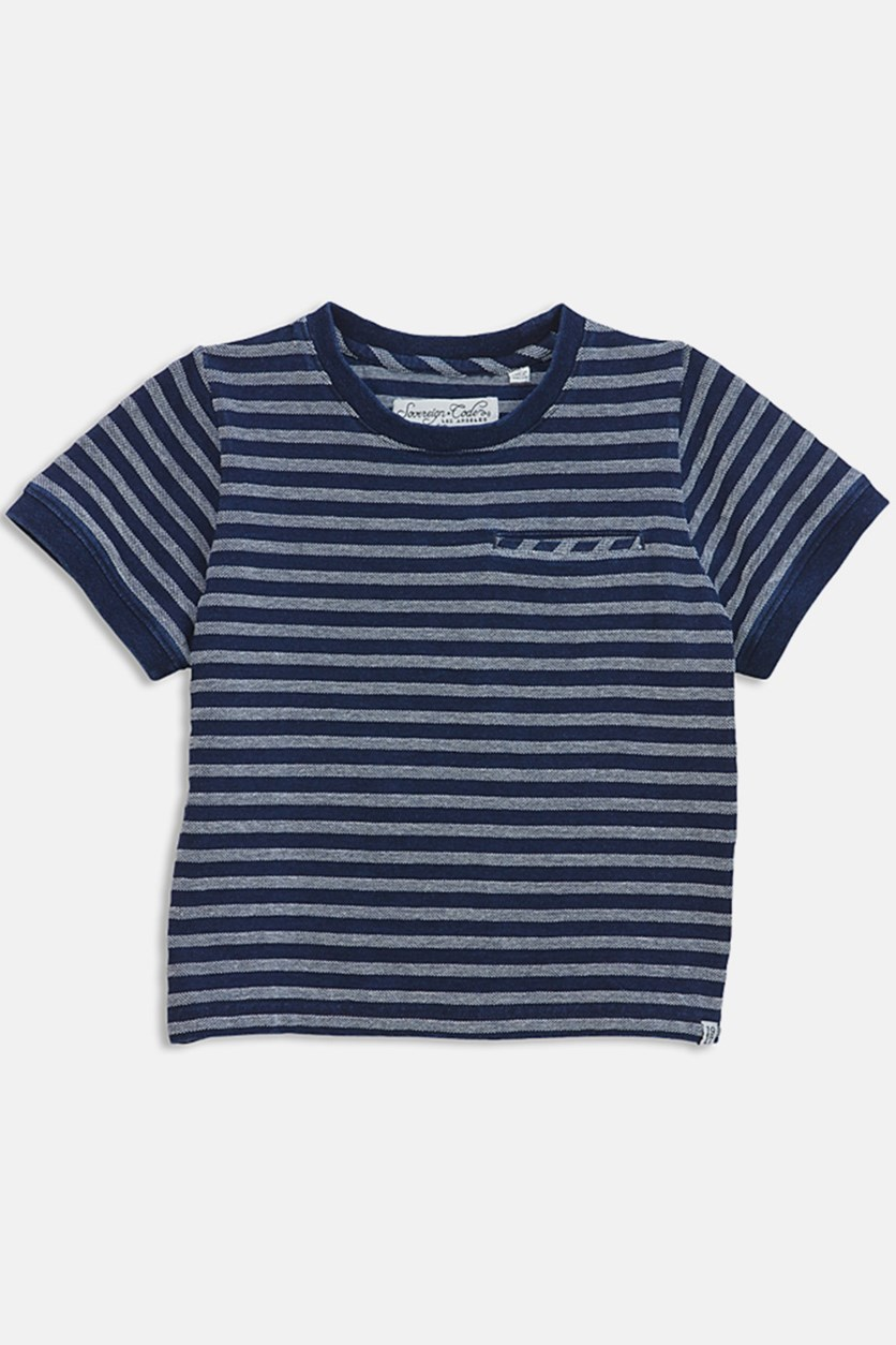 Boys' Textured Striped Tee, Indigo