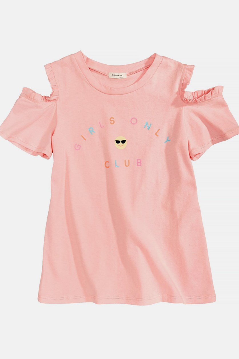Cold Shoulder Cotton T-Shirt, Pink