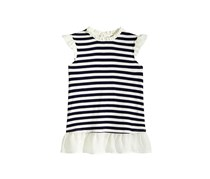 Monteau Big Girls Layered-Look Striped Top, Ivory/Navy