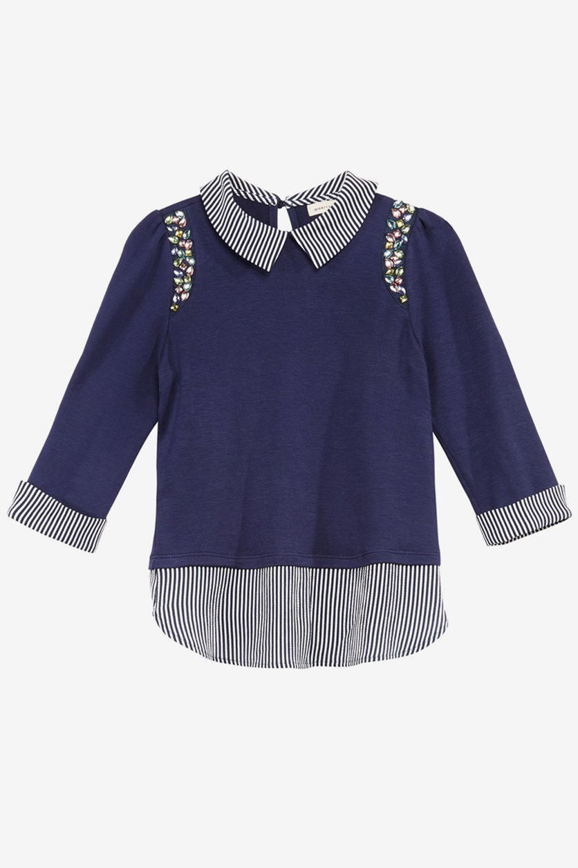 Big Girls Embellished Layered-Look Top, Navy