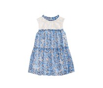 Monteau Big Girls Lace-Trim Tiered Top, Blue Combo