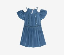 Kandy Kiss Big Girls Pearl-Trim Top, Dark Blue