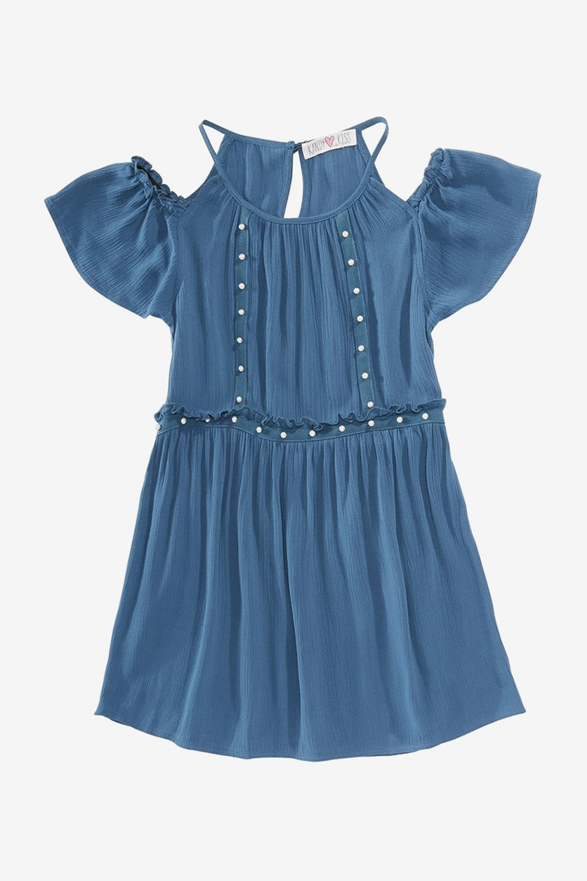 Big Girls Pearl-Trim Top, Dark Blue