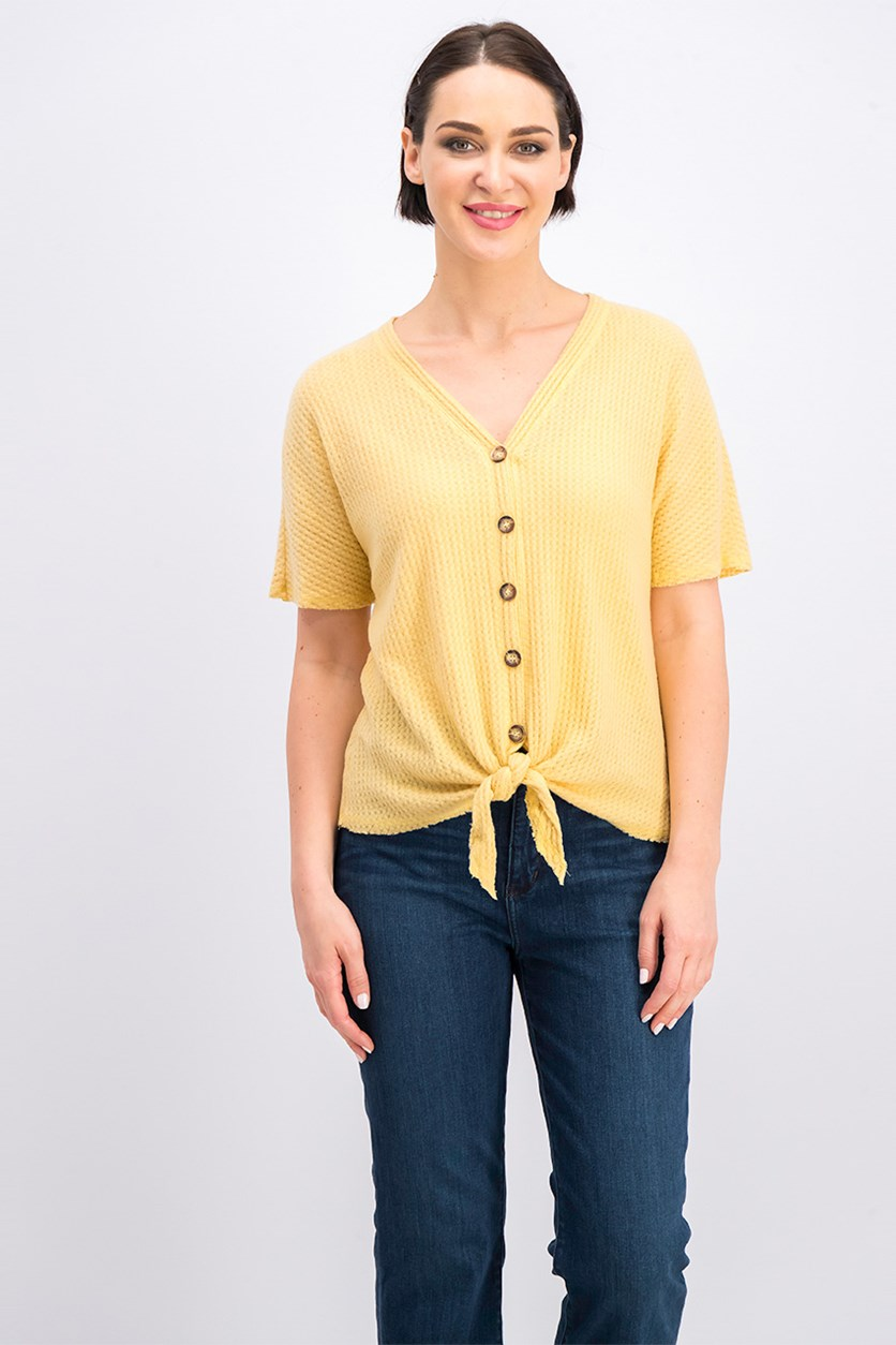 Women's Short Sleeve Blouse, Yellow