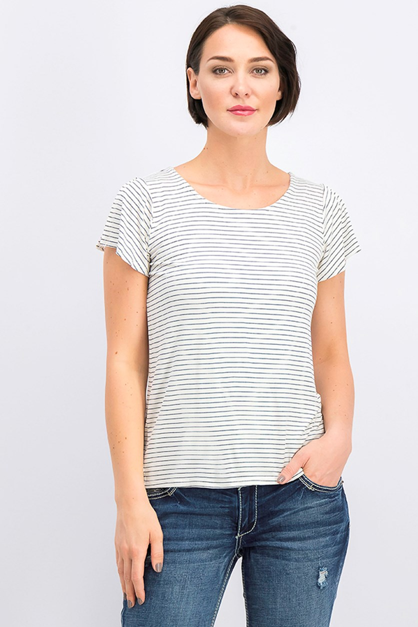 Women's Stripe Top, Ivory/Black