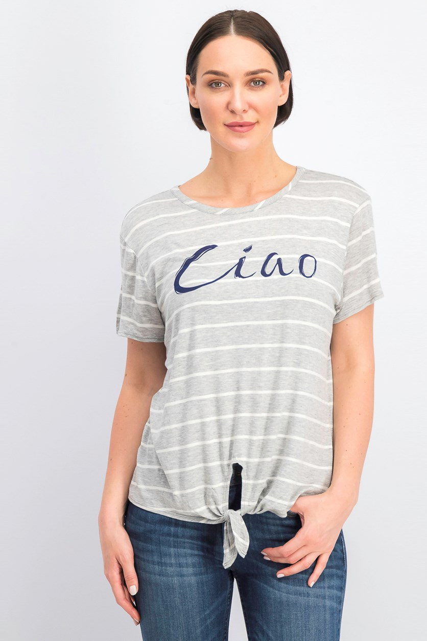 Women's Stripe Blouse, Grey