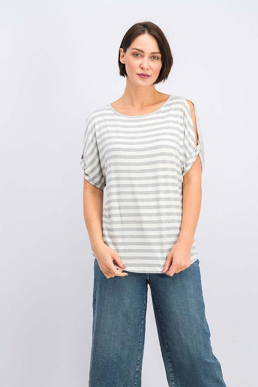 Women's Striped Top, Grey/Beige