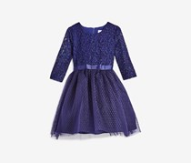 Little Angels By Us Angels Girls' Lace & Tulle Dress, Navy