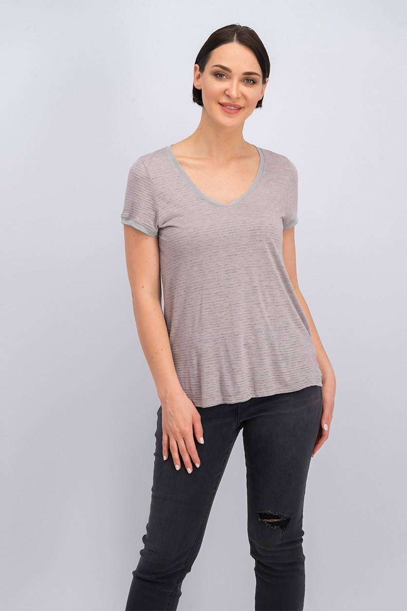 Women's Short Sleeve Stripe Top, Gray/Pink