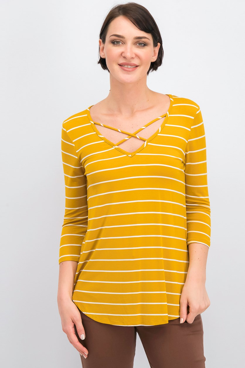 Women's 3/4 Sleeve Cross Front Stipe Knit Top,Yellow/White