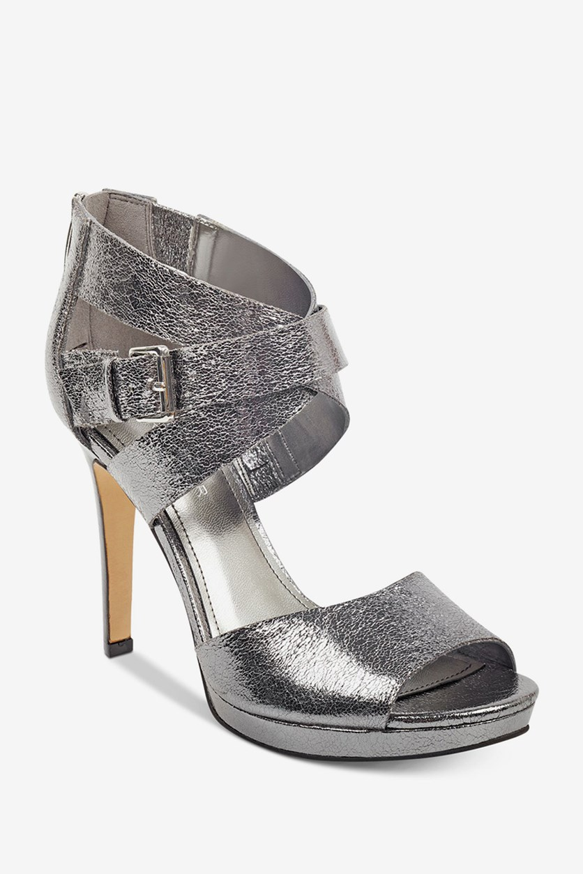Marnia Crossband Dress Sandals, Pewter
