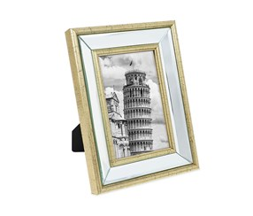 Isaac Jacobs 4x6 Gold Beveled Mirror Picture Frame, Gold