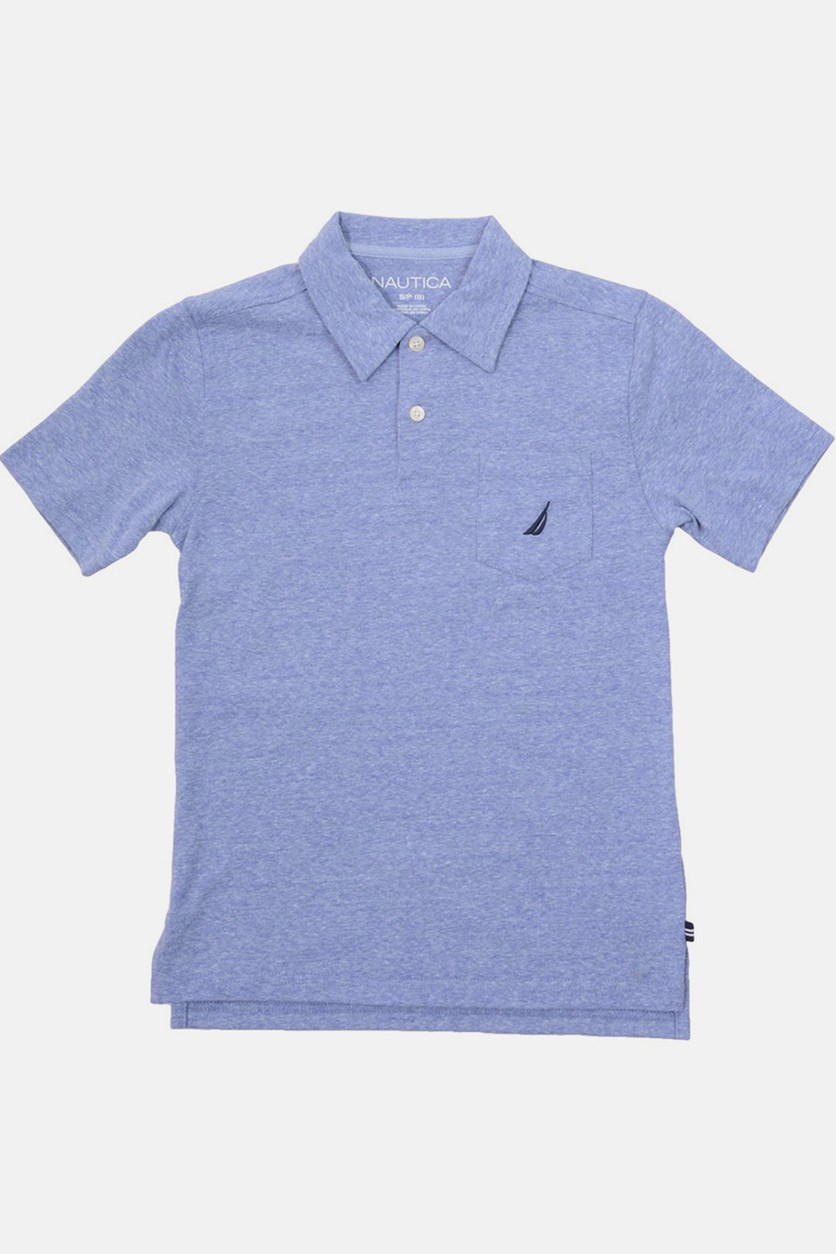 Little Boy's Heather Polo Shirt, Blue