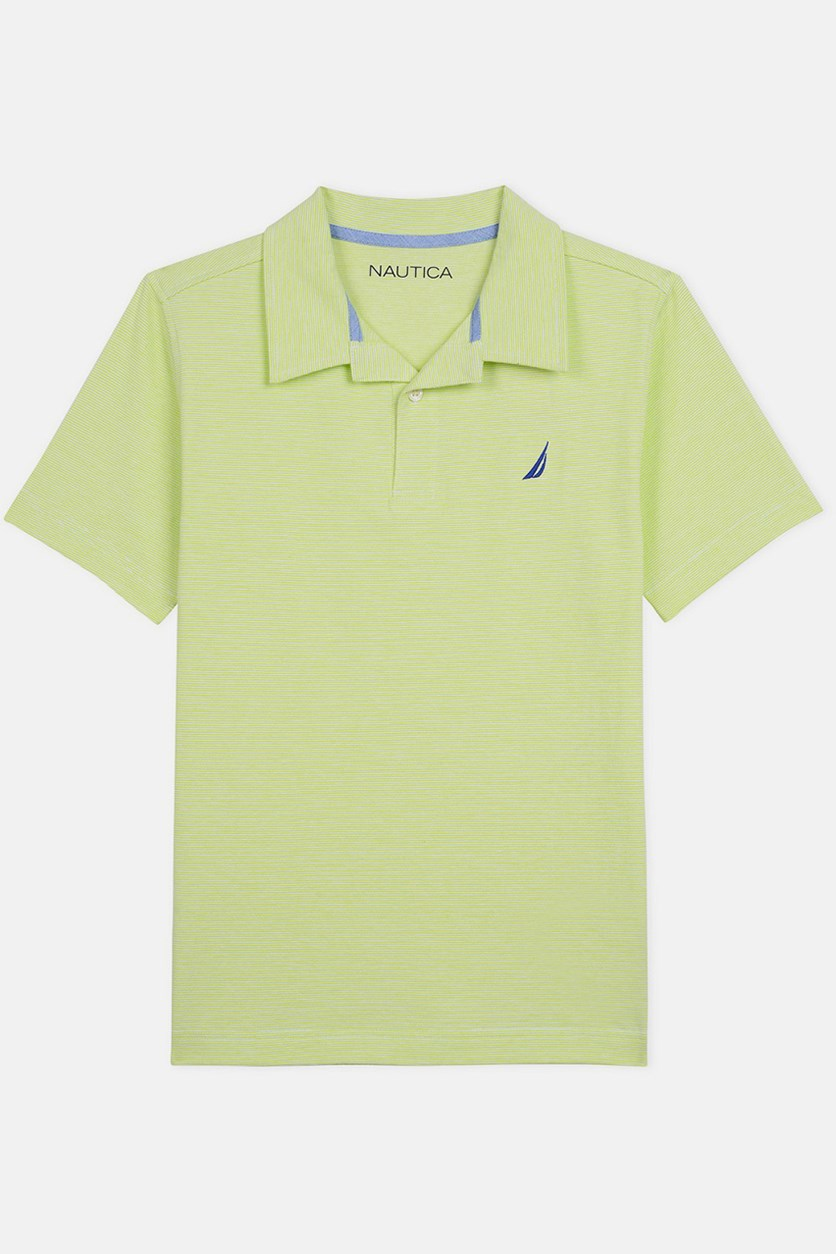Little Boy's Striped Polo Shirt, Lime Punch