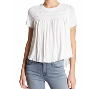 Free People Women's Dani Shirred Basic T-Shirt, White