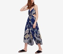 Free People Women's Bella Cropped Cut-Out Jumpsuit, Navy