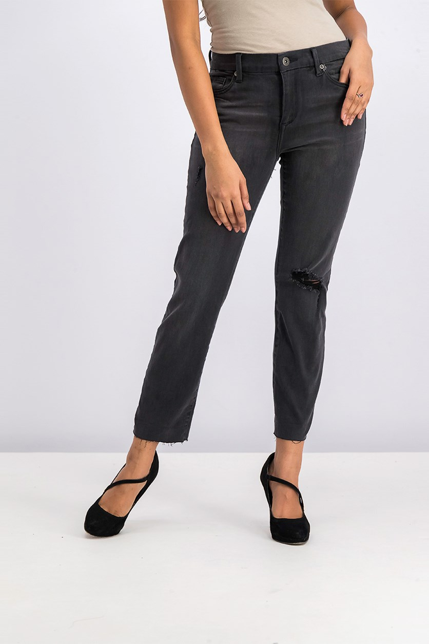Women's Washed Jeans, Black wash