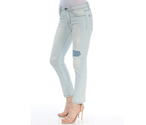 DKNY Women's Patched Straight leg Jeans, Light Blue