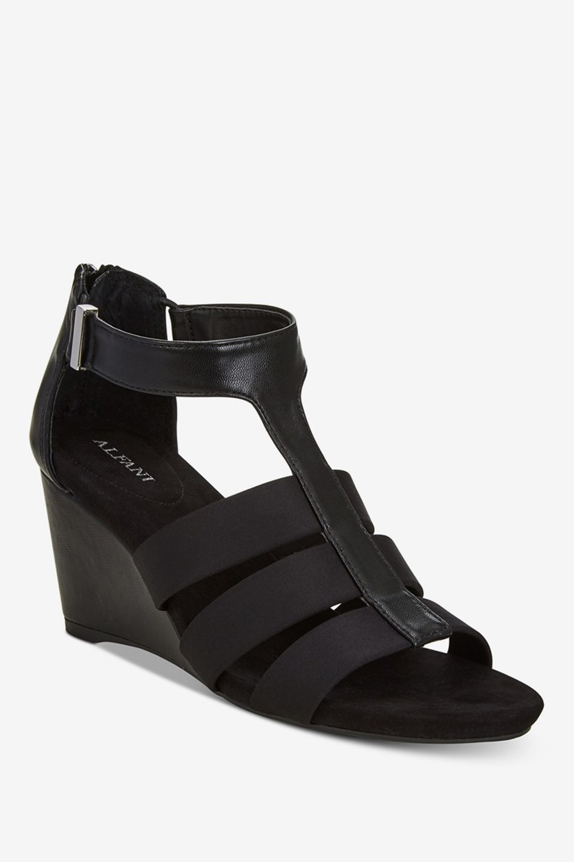 Women's Pearrl Wedge Sandals, Black