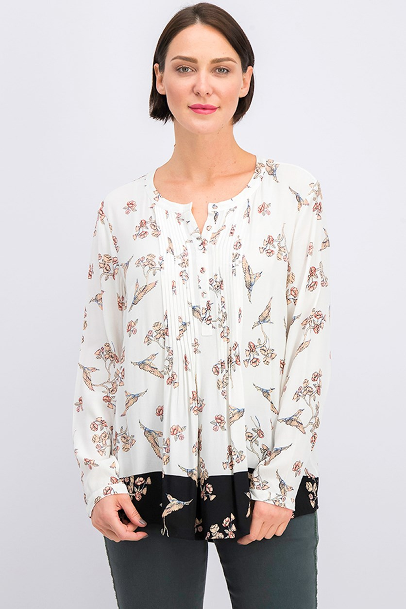 Women's Floral Print Top, Ivory