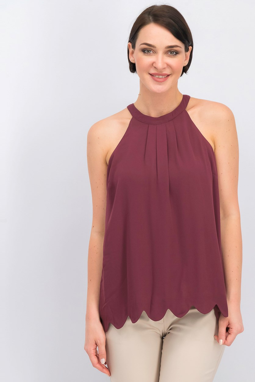 Women's Pleated Tops, Maroon