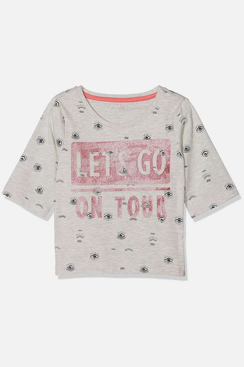 Kids Girl's Graphic T-Shirt, Heather Cream