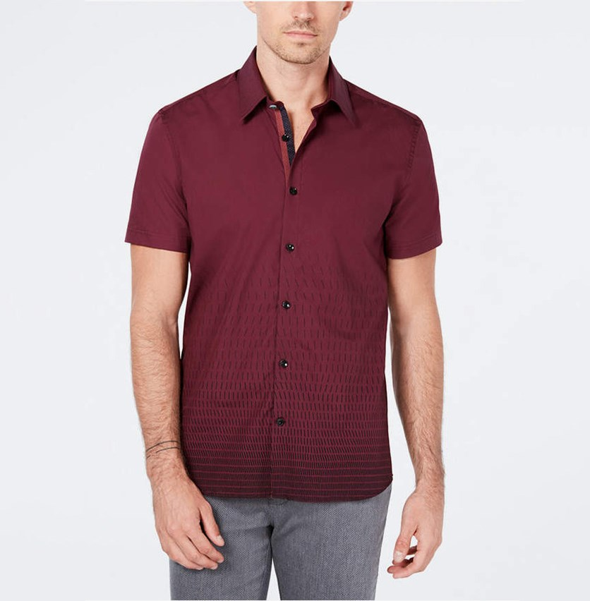 Men's Dash-Print Shirt, Burgundy