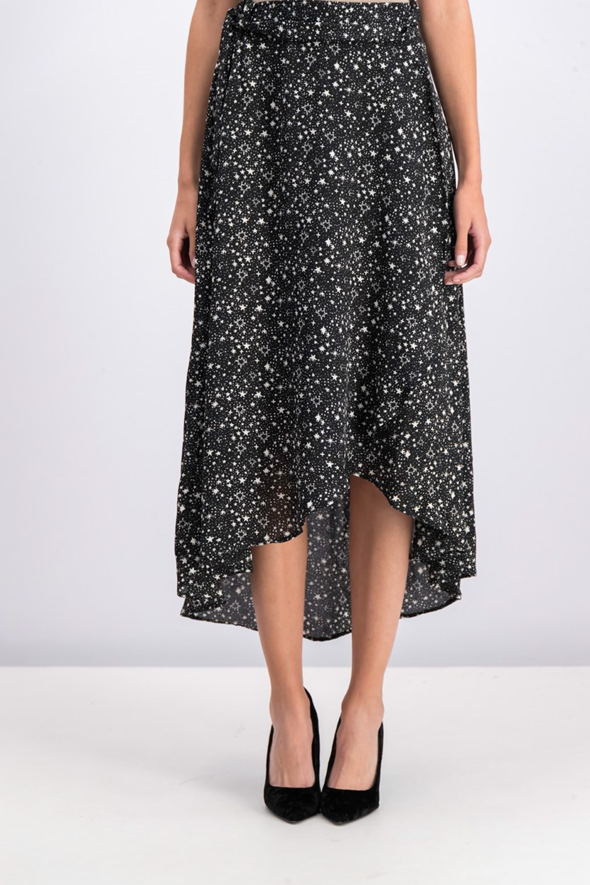Women's Printed HIgh Low Skirt, Black/White