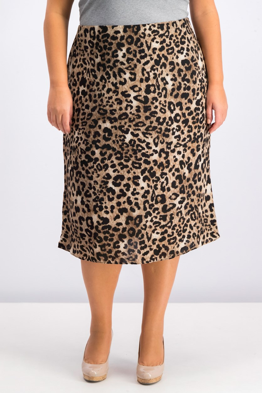 Plus Size Printed Skirt, Brown Combo