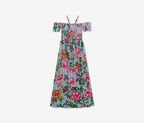 Rare Editions Girls Floral-Print Maxi Dress & Necklace Set, Blue/Green Combo