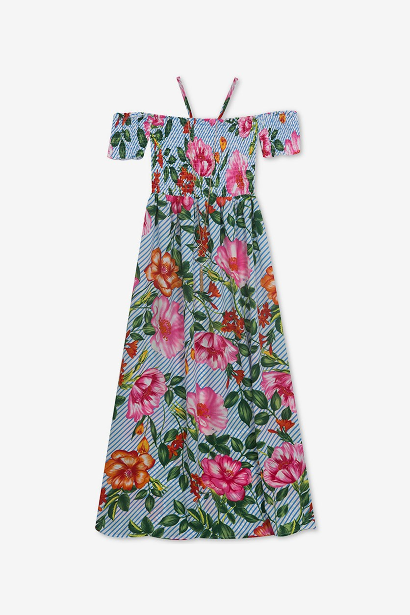 Girls Floral-Print Maxi Dress & Necklace Set, Blue/Green Combo