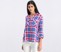 Billy T Women's Plaid Button Down Shirt, Blue/Pink Combo