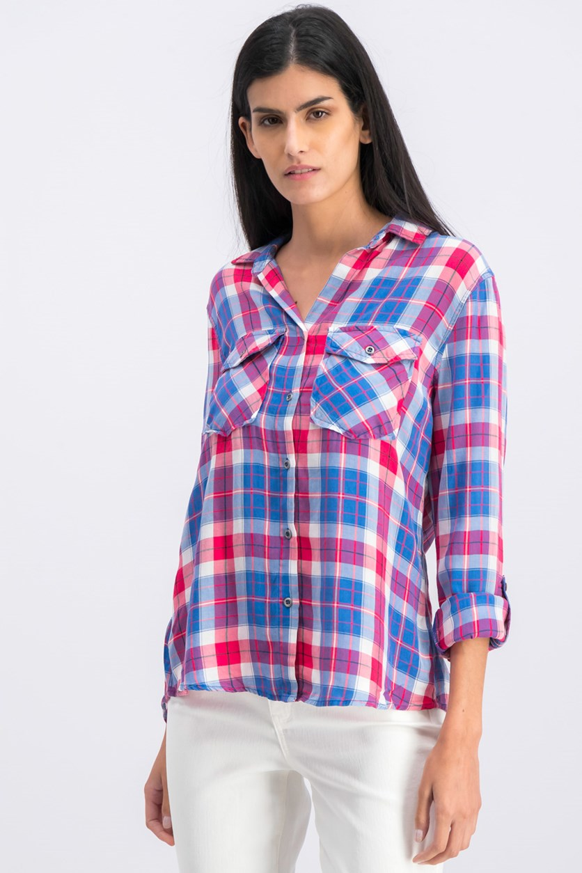 Women's Plaid Button Down Shirt, Blue/Pink Combo