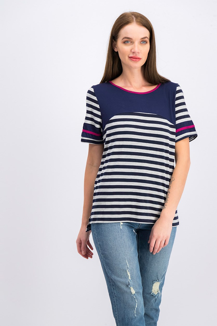 Women's Stripe Shirt, Navy/Grey