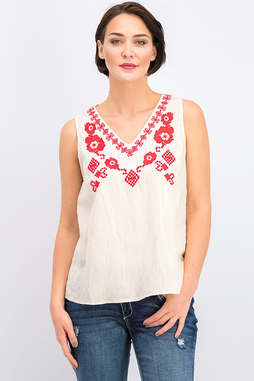 Women's Embroidered Sleeveless Camisole, Red Combo