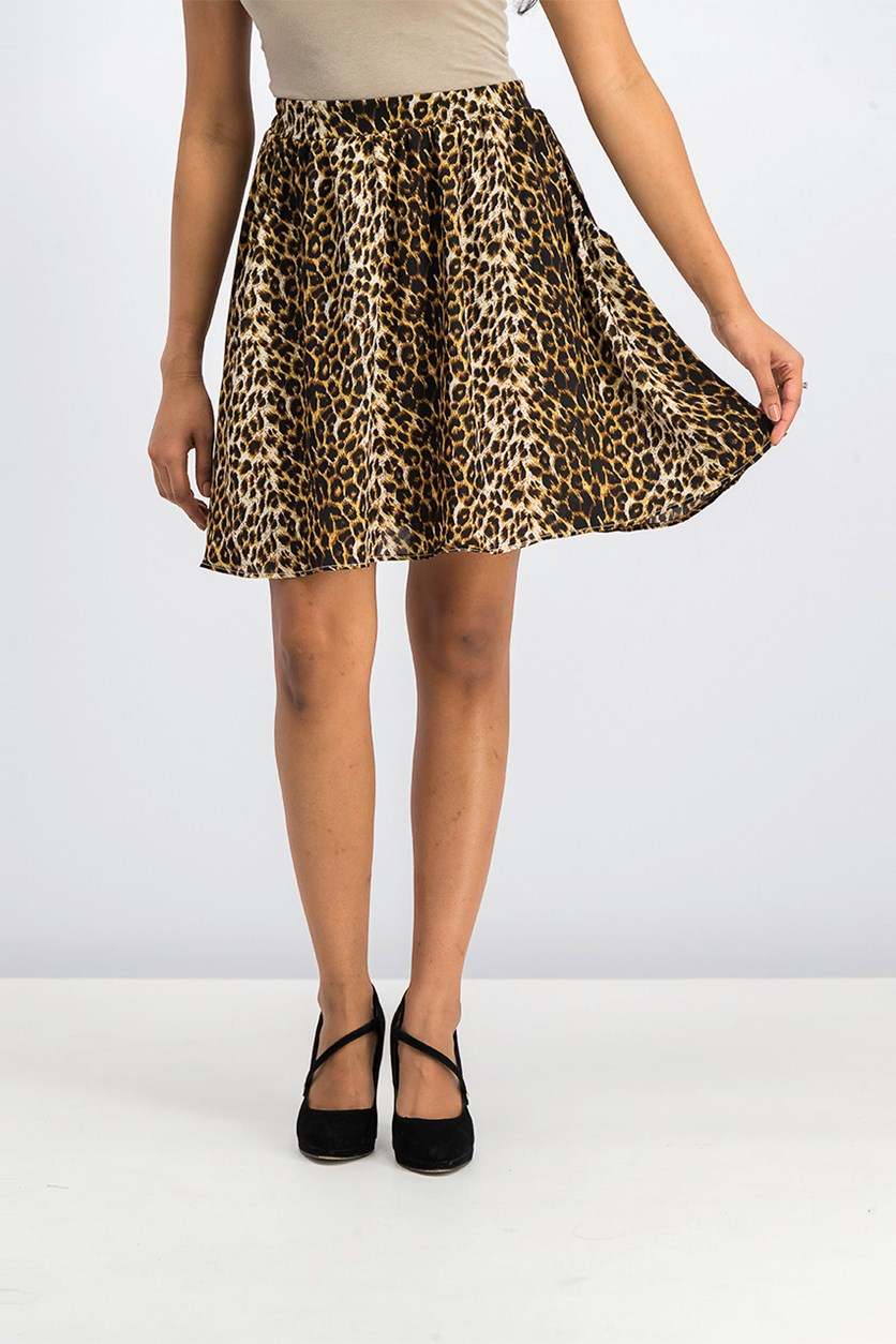 Animal Print Skirts, Black/Beige
