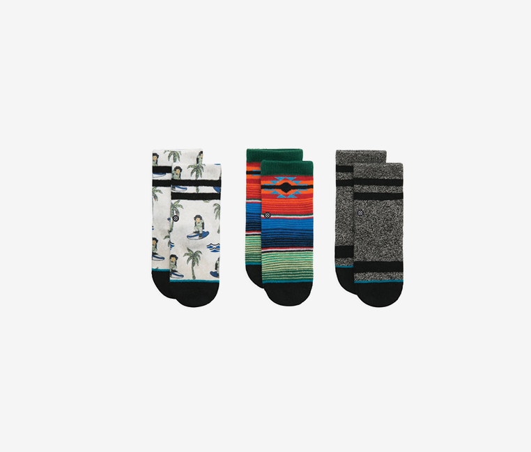 Baby Boy's 3 Pairs Monkey Box Set Socks, Blue/White/Gray/Red Combo