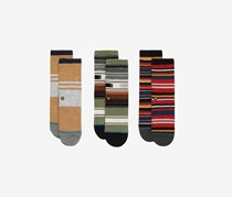 Stance Toddlers Boy's 3pairs Carew Box Set Socks, Brown/Green/Red Combo