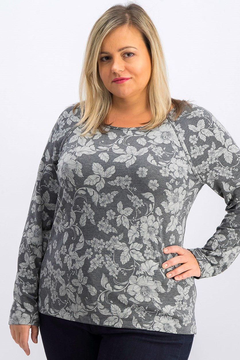 Women's Floral Top, Grey