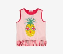 Design History Girls' Kids Fringed Pineapple Tank, Birthday Pink Combo