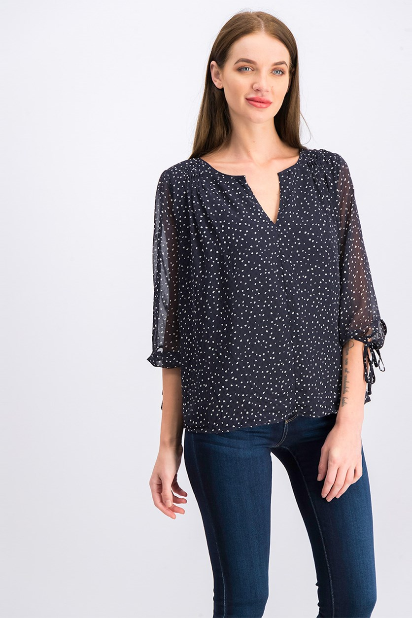 Collective Concept Women's Printed Blouse, Navy Blue