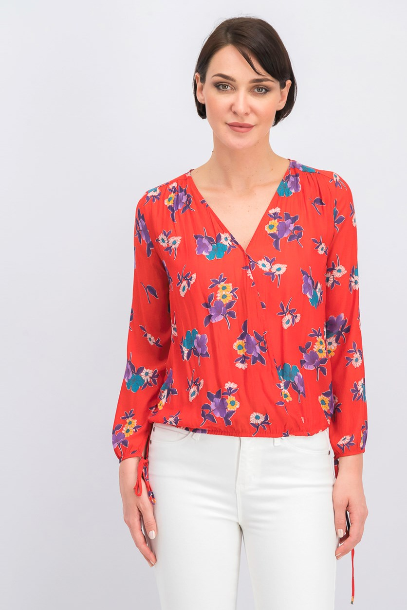 Floral Wrap Tops, Red Combo