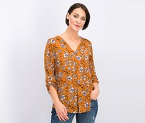 Women's Roll Tab Floral Top, Brown Combo